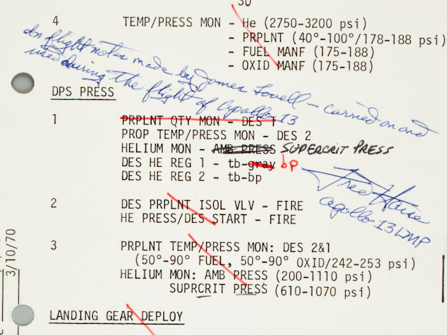 LOVELL'S MOST EXTENSIVE BURN NOTES. Flown on Apollo 13, LM-7 Contingency Checklist, page 30.