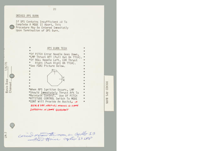 DOCKED APS BURN. Flown on Apollo 13, LM-7 Contingency Checklist, pp. 20 and 21.