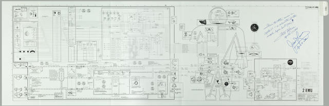 SPACE SUIT SCHEMATIC CARRIED ON APOLLO 13. Flown Extravehicular Mobility Unit Detailed Schematic, 2 EMU, a drawing from the Apollo 13 LM Systems Data Book. NASA/MSC, April 1969.