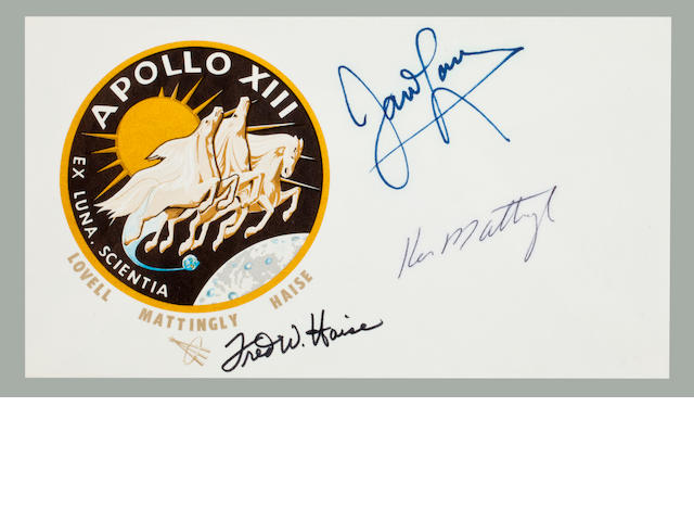 SIGNATURES OF THE ORIGINAL APOLLO 13 ASTRONAUTS. Postal envelope, 3½ x6½ inches, with an Apollo 13 crew emblem cachet.