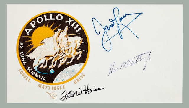 SIGNATURES OF THE ORIGINAL APOLLO 13 ASTRONAUTS. Postal envelope, 3½ x6½ inches, with an Apollo 13 crew emblem cachet.