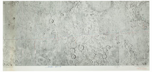 LUNAR ORBIT PHOTO TASKS FOR APOLLO 13—SIGNED. Lunar Orbital Science Flight Chart, Chart E, 2 of 3, Apollo Mission 13, REV 19 through 39, 11 APRIL 1970 Launch Date. Color lunar map, first edition, February 2, 1970.