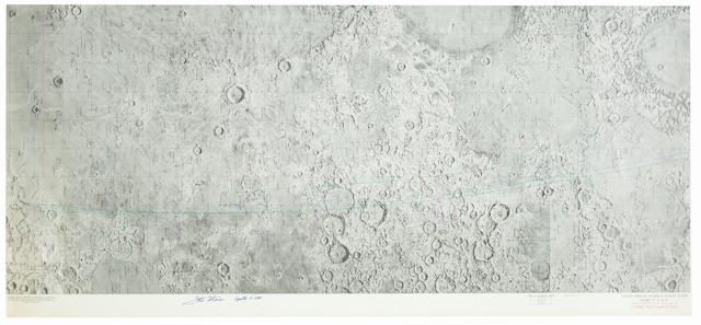 MORE LUNAR ORBIT PHOTO TASKS FOR APOLLO 13. Lunar Orbital Science Flight Chart, Chart F, 2 of 3, Apollo Mission 13, REV 40 through 46, 11 APRIL 1970 Launch Date. Color lunar map, first edition, February 2, 1970.