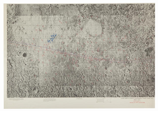 LUNAR PHOTO TARGET OBJECTIVES FOR APOLLO 14. Lunar Orbit Science Contingency Flight Chart (LSC), Sheet 1 of 2, Apollo Mission 14, January 31, 1971 Launch Date. Color lunar map, First Edition, December 4, 1970.