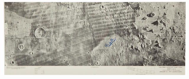 LANDING SITES AS SEEN FROM ORBIT—SIGNED. CSM Orbit Monitor Chart (CDM), Sheet 4 of 4, Apollo Mission 14 – Site Fra Mauro, January 31, 1971 Launch Date.