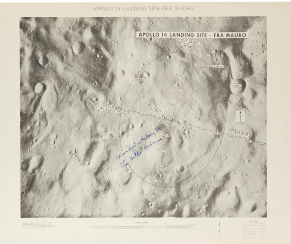 TARGET POINT FOR ALAN SHEPARD—SIGNED. Apollo 14 Landing Site – Fra Mauro. Published by the U.S. Army Topographic Command for NASA, 1971.