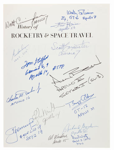 SIGNED BY 13 ASTRONAUTS & FIRST SPACEWALKER. VON BRAUN, WERNHER and FREDERICK I. ORDWAY III. History of Rocketry and Space Travel. New York: Thomas Y. Crowell, 1969.