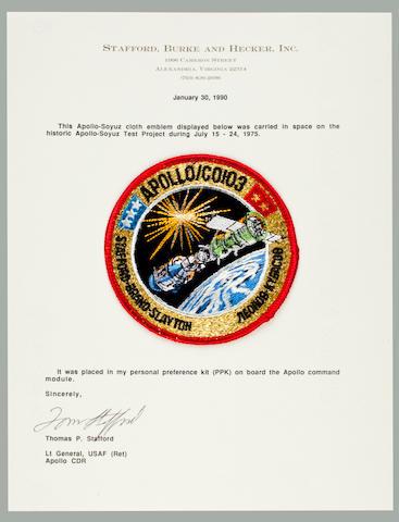 STAFFORD'S FLOWN ASTP APOLLO CREW EMBLEM. Flown Apollo Soyuz cloth crew emblem, 4 inches in diameter.