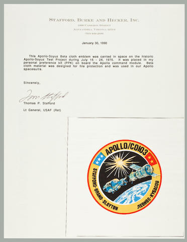 TOM STAFFORD'S ASTP FLOWN BETA CLOTH. Flown Apollo Soyuz crew emblem, 3½ inches in diameter.