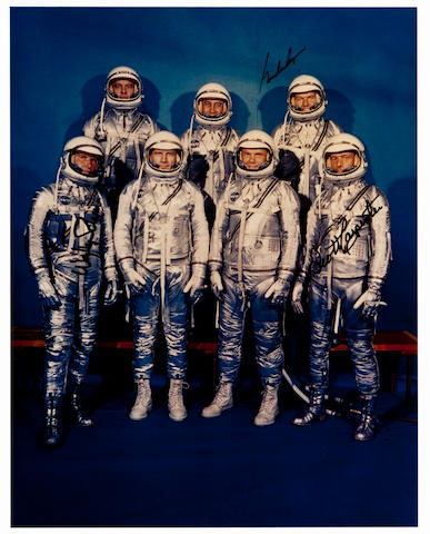 ORIGINAL MERCURY SEVEN. Large color photograph, 14 x 11 inches, c.1959, printed later.