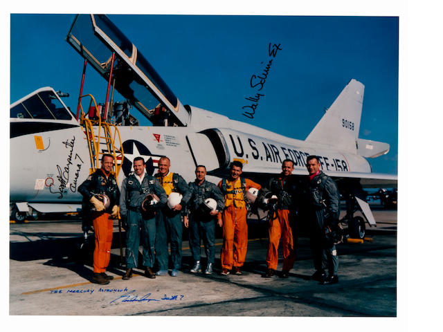 MERCURY SEVEN FLYERS.  Large color photograph, 11 x 14 inches, c.1960, printed later.