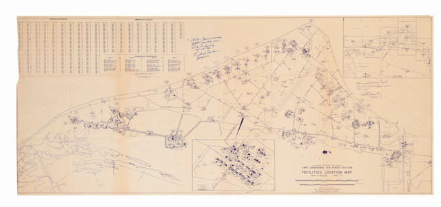 CAPE CANAVERAL LAUNCHPAD MAP—SIGNED. Air Force Eastern Test Range, Cape Canaveral Air Force Station Facilities Location Map. Compiled and drawn by the Facilities Engineering Department of Pan American World Airways, Aerospace Services Division, April 1975.