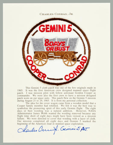 CONRAD'S MISSION EMBLEM CARRIED ON GEMINI 5. 8 DAYS OR BUST—THE U.S. NOW LEADS IN SPACE EXPLORATION.