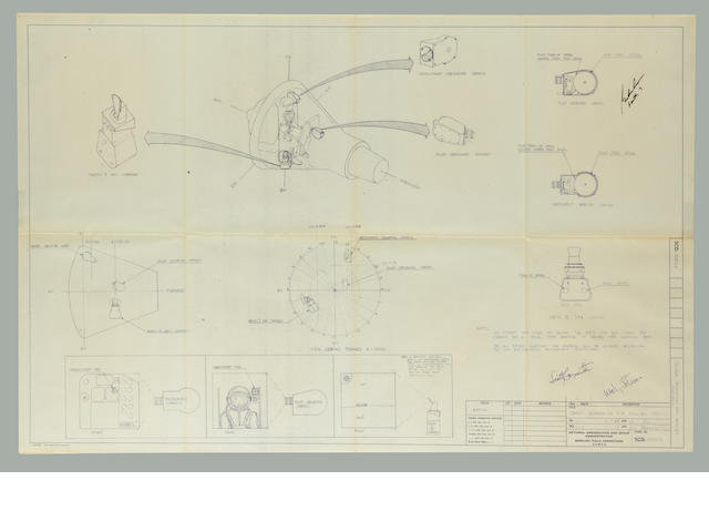 "ORIENTATION OF THE MERCURY FLIGHT CAMERAS. ""Camera Orientation for Mercury Capsules,""  blueprint, NASA Mercury Field Operations,"