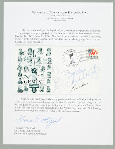STAFFORD'S GEMINI COVER—ARMSTRONG-SIGNED. Postal envelope with an Orbit Covers cachet featuring images of all the Gemini Astronauts.