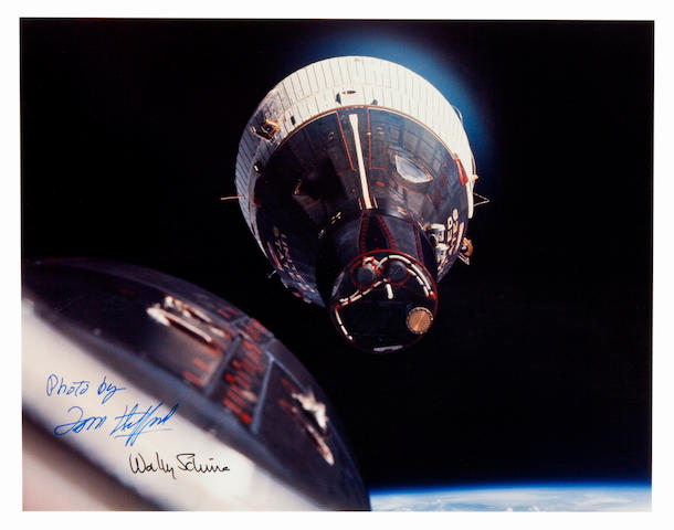 FIRST SPACE RENDEZVOUS. Color photograph, 11 x 14 inches.