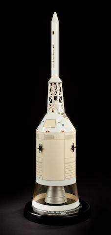 ROCKWELL SPACECRAFT MODEL. Model of the Command/Service Module (CSM) with escape tower and connecting lattice structure.