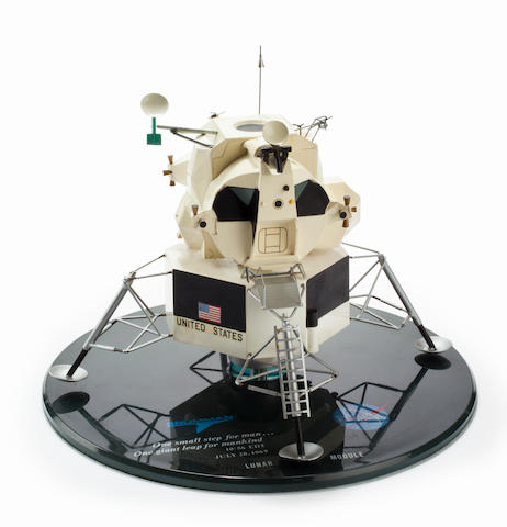 GRUMMAN LUNAR MODULE MODEL. Model of the Lunar Module (LM) made from injected-molded plastic for the Grumman Aircraft Engineering Corporation (GAEC) of Bethpage, Long Island, NY.