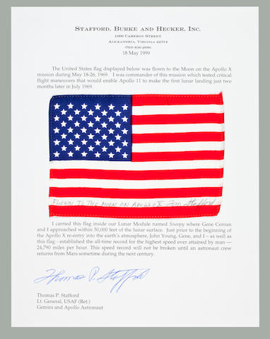 FASTEST FLOWN US FLAG, FROM APOLLO X MISSON. CARRIED IN LUNAR MODULE SNOOPY.<BR /> Flown United States flag, silk, 4 x 6 inches.