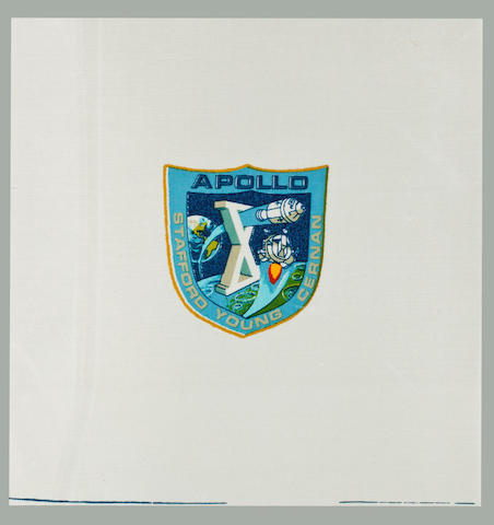 STAFFORD'S LUNAR MODULE FLOWN BETA EMBLEM. Flown crew Beta emblem,  carried on the Apollo 10 lunar orbital flight on board the lunar module Snoopy, 9 inches square.
