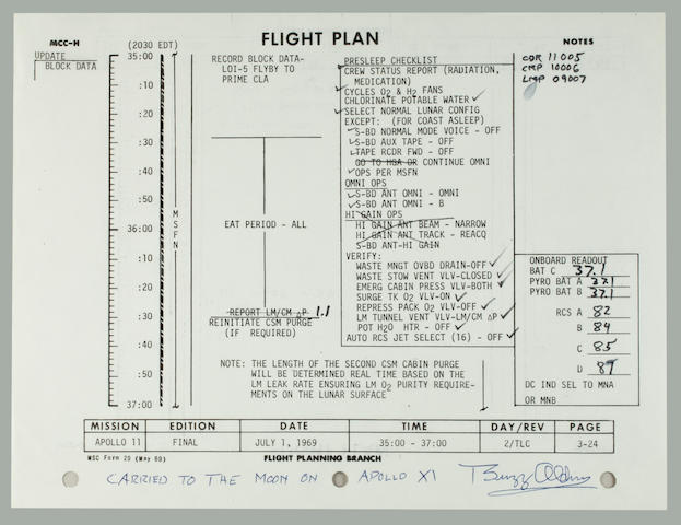 FLOWN APOLLO 11 FLIGHT PLAN SHEET. ALDRIN AND COLLINS RECORD FLIGHT DATA AND NOTES, AS NEIL ARMSTRONG NARRATES AND DIRECTS TV SHOWING THE EARTH FROM SOME 130,000 MILES OUT IN SPACE.