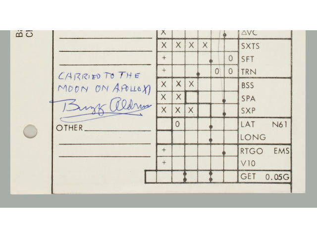 FLOWN APOLLO 11 CSM MANEUVER CARD. SOME OF NEIL ARMSTRONG'S MOST EXTENSIVE FLIGHT NOTES, INCLUDING ALDRIN'S ACTUAL BURN DATA FOR MCC-5. <BR />Flown Apollo 11 CSM Updates Checklist,