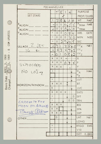 FLOWN APOLLO 11 CSM MANEUVER CARD. SOME OF NEIL ARMSTRONG'S MOST EXTENSIVE FLIGHT NOTES, INCLUDING ALDRIN'S ACTUAL BURN DATA FOR MCC-5.  Flown Apollo 11 CSM Updates Checklist,