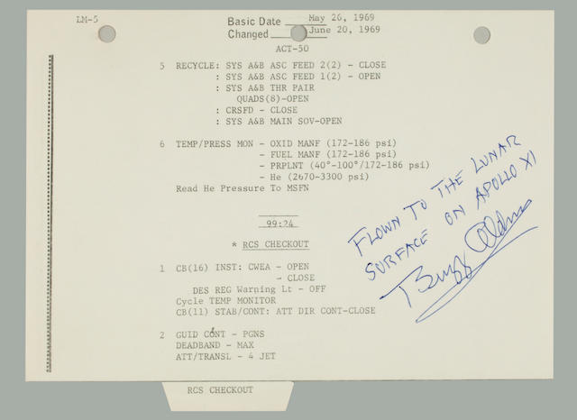 ARMSTRONG AND ALDRIN VERIFY EAGLE'S STATUS. CARRIED TO THE LUNAR SURFACE.  Flown Apollo 11 LM Activation Checklist,
