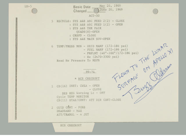 ARMSTRONG AND ALDRIN VERIFY EAGLE'S STATUS. CARRIED TO THE LUNAR SURFACE.<BR /> Flown Apollo 11 LM Activation Checklist,