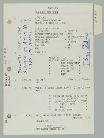 ARMSTRONG AND ALDRIN READY TO LEAVE THE MOON. 2-PAGE ALDRIN LETTER DESCRIBES LUNAR EXPERIENCE.  Two flown sheets from the Apollo 11 LM G & N Dictionary,