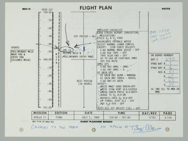 ARMSTONG AND CREW RETURNING HOME. ALDRIN REFLECTS ON MISSION.<BR /> Flown Apollo 11 Flight Plan sheet,