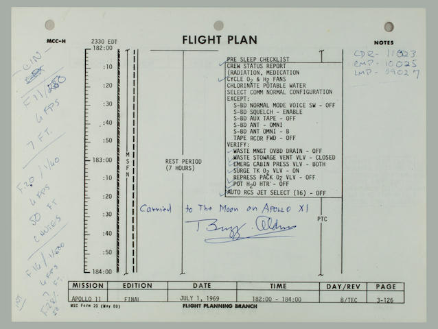 ARMSTRONG LOGS CAMERA DATA. RECORDING COLUMBIA'S RE-ENTRY.<BR /> Flown Apollo 11 Flight Plan,