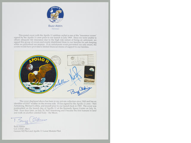 LIFE INSURANCE FOR THE APOLLO 11 FAMILIES. A CREW SIGNED LAUNCH POSTAL COVER.<BR /> Apollo 11 Life Insurance Cover measuring approximately 4 x 6 inches with a color crew emblem cachet.