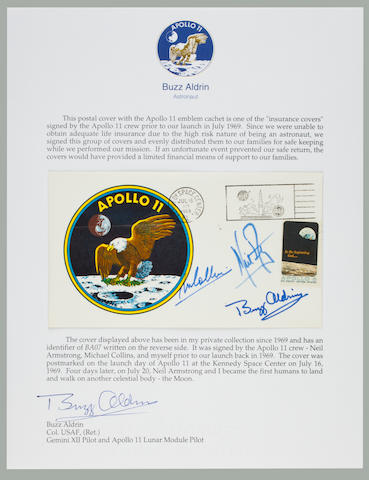 LIFE INSURANCE FOR THE APOLLO 11 FAMILIES. A CREW SIGNED LAUNCH POSTAL COVER.  Apollo 11 Life Insurance Cover measuring approximately 4 x 6 inches with a color crew emblem cachet.