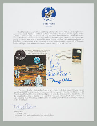 A CREW SIGNED LUNAR LANDING POSTAL COVER. LIFE INSURANCE FOR THE APOLLO 11 FAMILIES.<BR /> Apollo 11 Life Insurance Cover measuring approximately 4 x 6 inches with a cachet featuring two astronauts exploring the lunar surface.