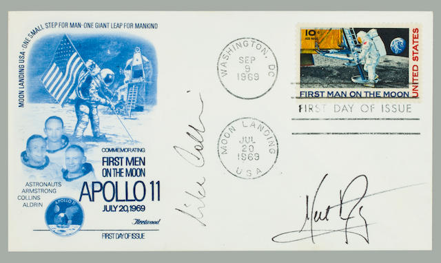 APOLLO 11 FIRST DAY POSTAL COVER—SIGNED. Postal envelope with a Fleetwood cachet featuring images of the Apollo 11 emblem and crew with an astronaut placing a US flag on the lunar surface.