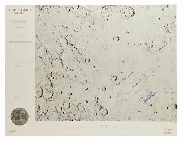 APOLLO 11 LANDING SITE CHART—SIGNED. Julius Ceasar, Lunar Shaded Relief – LSR 60. Defense Mapping Agency for NASA.