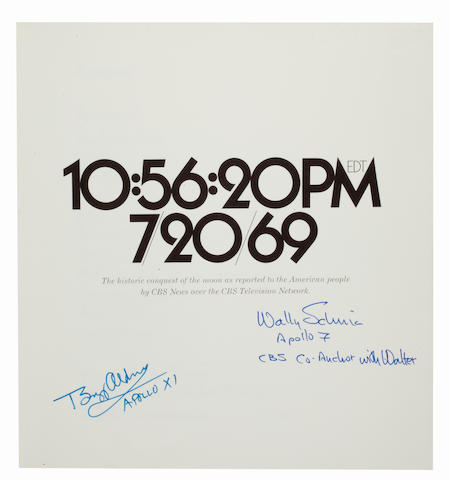 CBS TV COVERS THE FIRST LUNAR LANDING—SIGNED. BYRNE, JAMES, editor. 10:56:20 PM EDT 7/20/69. Columbia Broadcasting System, 1970.