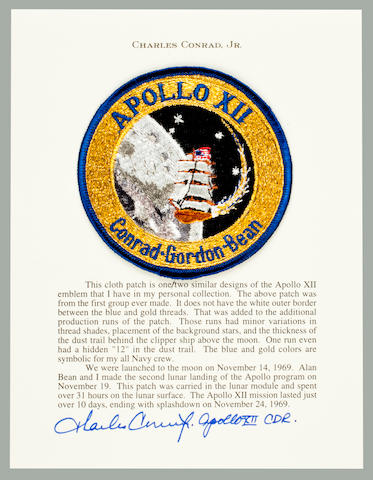 CONRAD'S APOLLO 12 MISSION EMBLEM. OVER 31 HOURS ON THE LUNAR SURFACE.<BR /> Flown Apollo 12 cloth emblem, 4 inches in diameter.