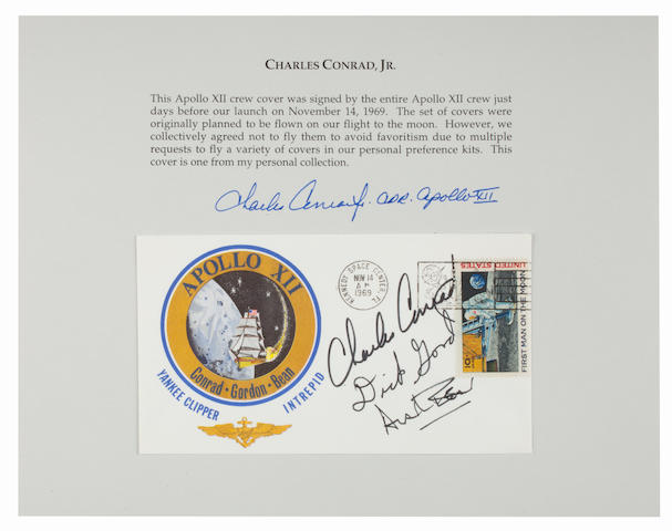 CONRAD'S SCHEDULED TO BE FLOWN POSTAL COVER. Envelope measuring approximately 4 x 6 inches with a color crew emblem cachet and Navy wings.