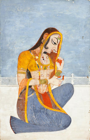 Radha on a terrace Opaque watercolor on paper, Kishangarh, 19th century