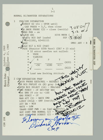 FLOWN ON APOLLO 12—LAUNCH CHECKLIST PAGE. Flown on Apollo 12, CSM Launch Checklist,  pp 3-1 and 3-2.