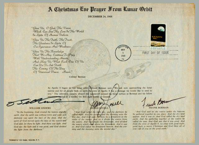 "APOLLO 8 CHRISTMAS EVE PRAYER. ""A Christmas Eve Prayer from Lunar Orbit, December 24, 1968."""
