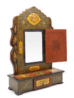 A Persian lacquered dressing table mirror