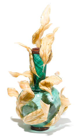 Dale Chihuly (American, born 1941) Green Venetian with Leaves, 1989