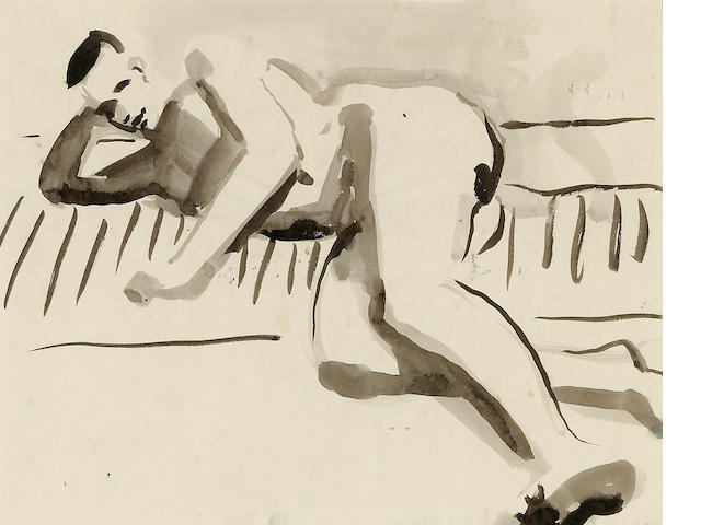 David Park (1911-1960) Reclining Figure, c. 1955-59 13 7/8 x 16 7/8in (35.2 x 42.9cm)