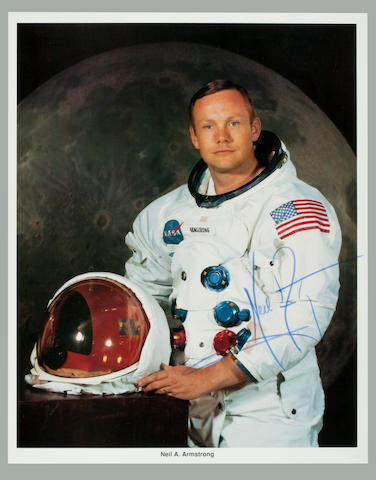 WHITE SPACE SUIT PORTRAIT. Color photolithograph of Neil Armstrong in white space suit, 8 x 10 inches, with NASA captions along lower border and on verso.