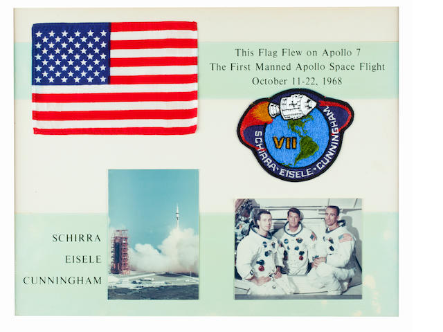 FLAG CARRIED ON FIRST MANNED APOLLO FLIGHT. Flown United States flag, made from silk, 4 x 6 inches,