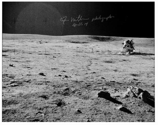 MITCHELL PHOTOGRAPHS THE LUNAR SURFACE. Large black and white photograph, 16 x 20 inches.