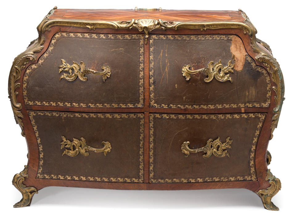 A Louis XV style gilt bronze and leather mounted marquetry cartonnier Gervais Durand fourth quarter 19th century